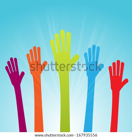 Vector illustration of colorful raised hands voicing colorful opinions.