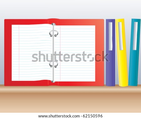 vector illustration of colorful ring binders on a wooden shelf in eps10 format - stock vector