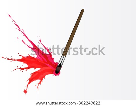 Vector illustration of Colorful splash from brush - stock vector
