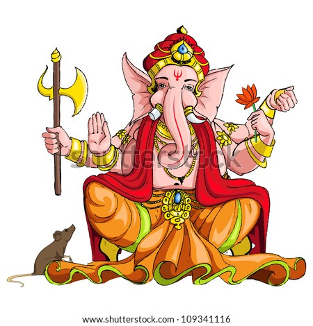 vector illustration of colorful statue of lord Ganesha - stock vector