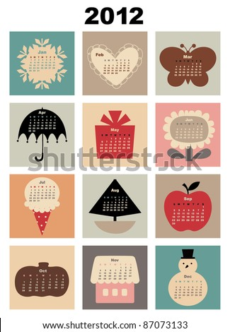 Vector Illustration of colorful style design Calendar for 2012 - stock vector
