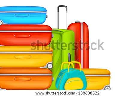 vector illustration of colorful suitcase in travel background - stock vector