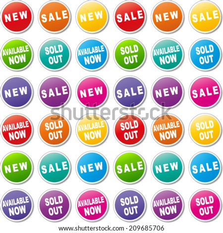 Vector illustration of colorful tags for shop
