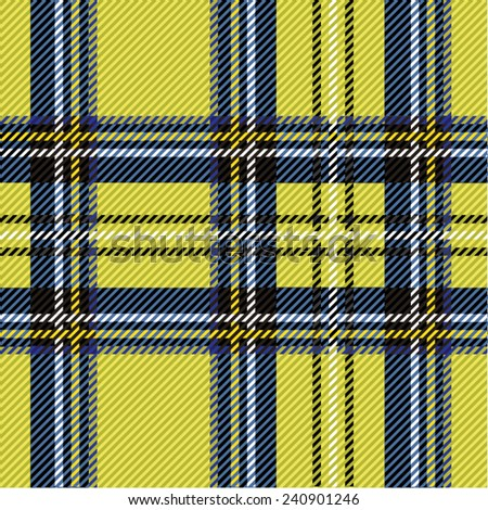 Vector illustration of colorful tartan, plaid fabric. Scotland kilt textile, yellow, blue. - stock vector