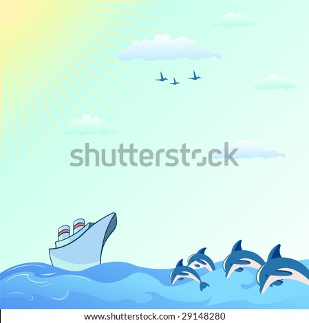 Vector illustration of Colorful useful background with dolphins and  Blue Boat - stock vector