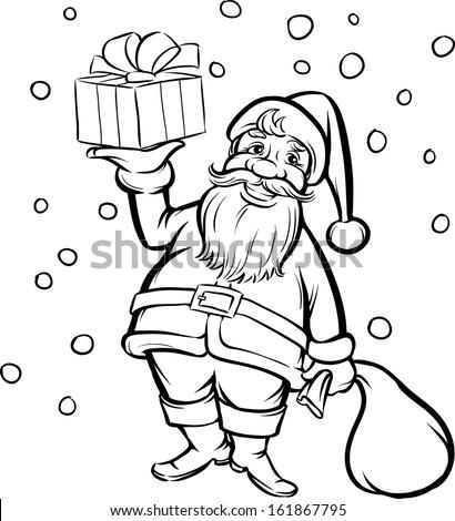 vector illustration of coloring book santa claus with christmas gift easy edit layered vector - Coloring Book Santa