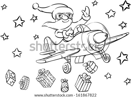 Vector illustration of Coloring Book Santa flying on plane. Easy-edit layered vector EPS10 file scalable to any size without quality loss.
