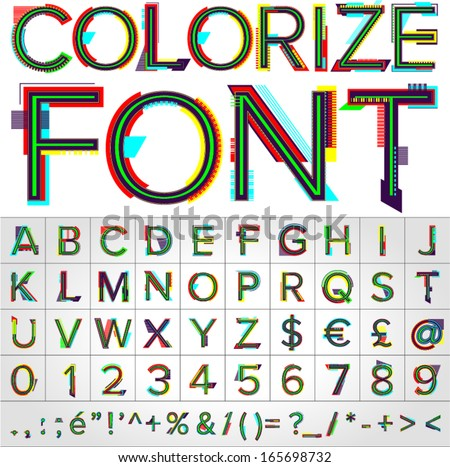 Vector illustration of Colorize alphabet. Font.  Vector illustration - stock vector