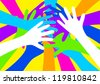 Vector illustration of colourful hands - stock vector