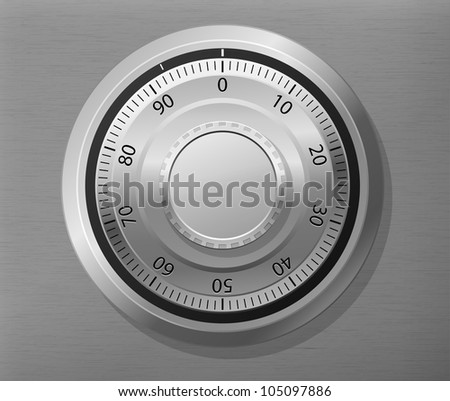 Vector illustration of combination lock wheel - stock vector