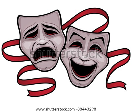 Vector illustration of comedy and tragedy theater masks with a red ribbon. - stock vector