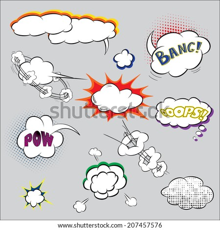 Vector Illustration of Comic Speech Bubble for Design, Website, Background. Banner of Cartoon TExt Box. Template Popart Style for Chat or Communication - stock vector