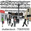 Vector illustration of commuters and business people  at London railway station, England. - stock vector