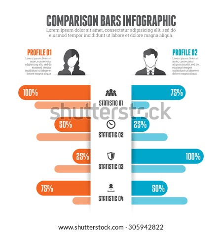 Vector illustration of comparison bars infographic design element. - stock vector