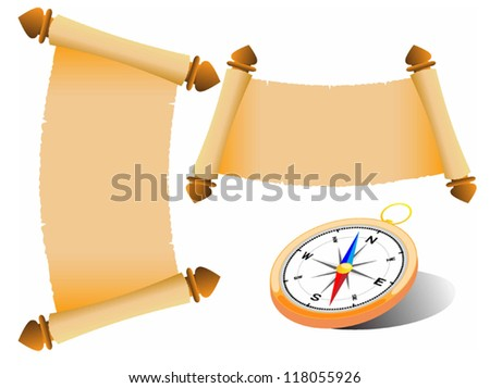 Vector illustration of compass and the old Scroll - stock vector