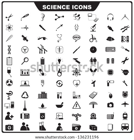 vector illustration of complete set of science icon - stock vector