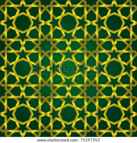 Vector illustration of complex islamic seamless pattern - stock vector