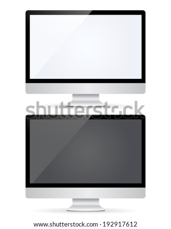 Vector illustration of computer monitor with black and white empty screen. Isolated on white background - stock vector