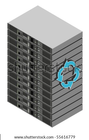 Vector illustration of computer server box