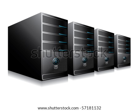 Vector illustration of computer servers - stock vector
