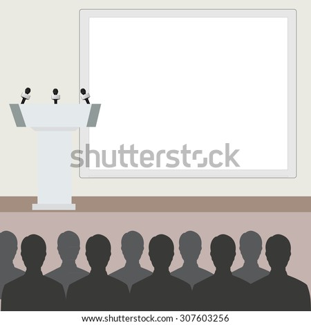 Vector illustration of conference room. People at the conference hall. Business meeting template.