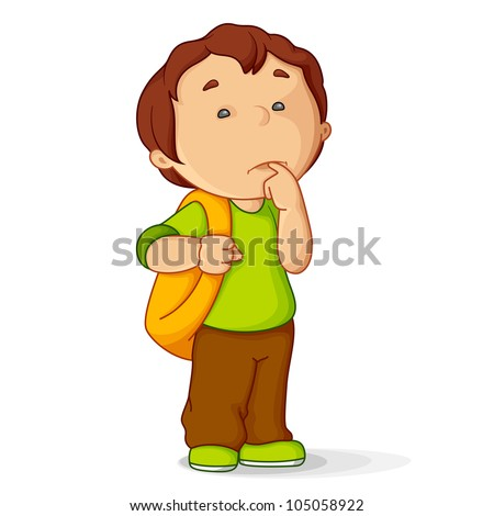 vector illustration of confused kid with school bag - stock vector