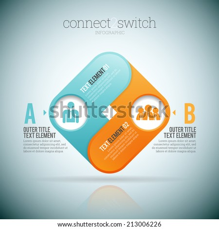 Vector illustration of connect 2 two switch infographic elements. - stock vector