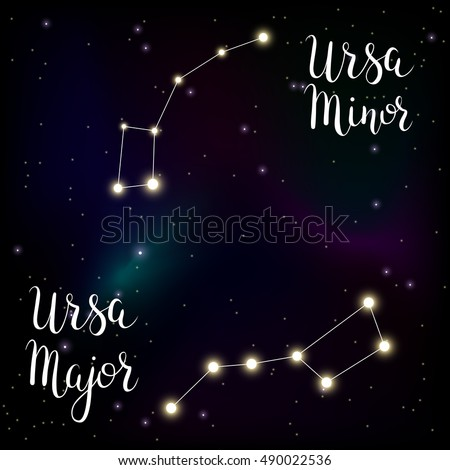 Constellations Ursa Major And Minor Ursa Minor Stock Image...