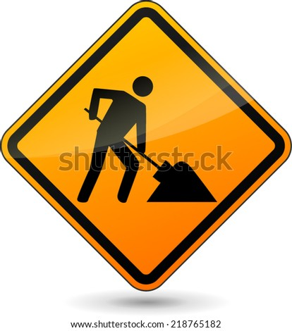 Vector illustration of construction orange sign on white background