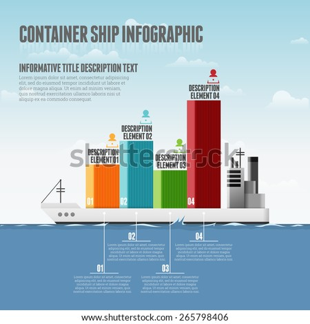 Vector illustration of container ship infographic design elements. - stock vector
