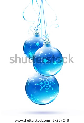 Vector illustration of cool blue Christmas decorations - stock vector