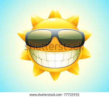 Vector illustration of cool cartoon happy summer sun in sunglasses - stock vector