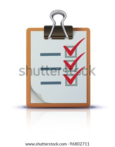 Vector illustration of cool check list on clipboard - stock vector