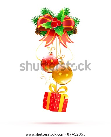 Vector illustration of cool Christmas decorations and funky gift box - stock vector