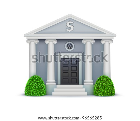 Vector illustration of cool detailed bank icon isolated on white background. - stock vector