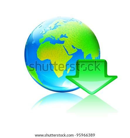Vector illustration of cool global computer download concept