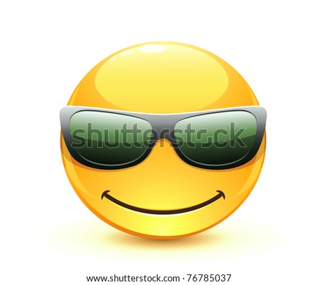Vector illustration of cool glossy Single Emoticon - stock vector