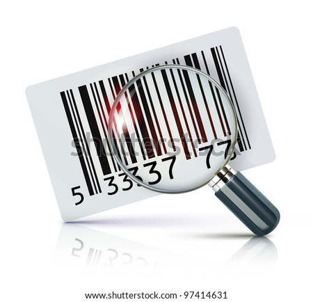 Vector illustration of cool identification barcode sticker with magnifying glass - stock vector