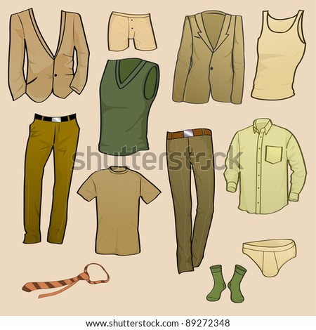 Vector illustration of cool Men clothes icon set - stock vector