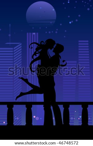 Vector illustration of cool sexy couple on the urban romantic background