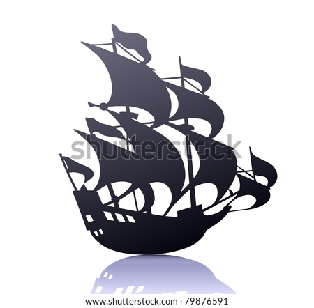 Vector illustration of cool  silhouette of retro sailing ship - stock vector