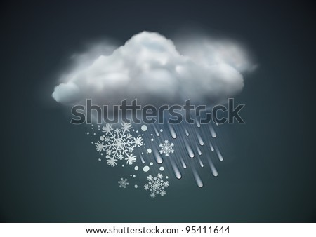 Vector illustration of cool single sleet weather icon - cloud with snow and rain in the dark sky - stock vector