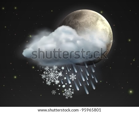 Vector illustration of cool single sleet weather icon â?? moon with cloud, snow and rain in the night sky - stock vector