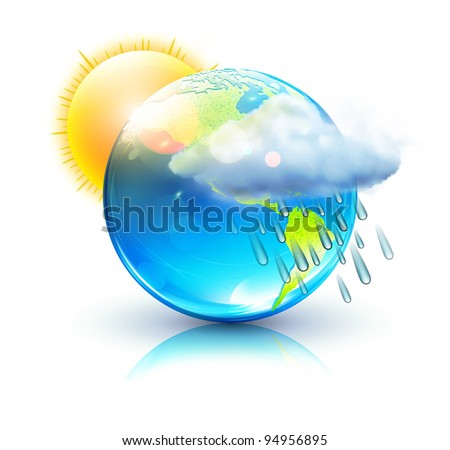Vector illustration of cool single weather icon - blue globe with sun, raincloud and raindrops - stock vector
