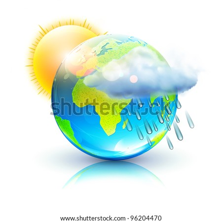Vector illustration of cool single weather icon â?? blue globe with sun, raincloud and raindrops - stock vector