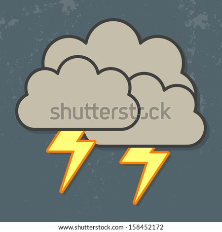 Vector illustration of cool single weather icon - cloud with heavy fall rain and lightning in the dark sky. cloud and lightning icon. Weather icon clip art lightning thunder storm illustration. - stock vector