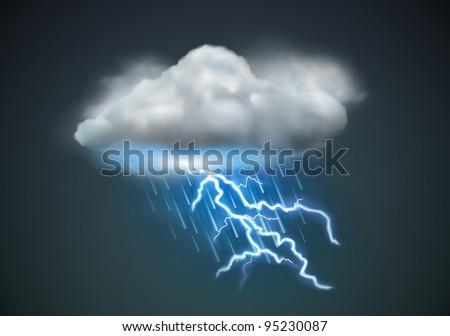 Vector illustration of cool single weather icon - cloud with heavy fall rain and lightning in the dark sky - stock vector