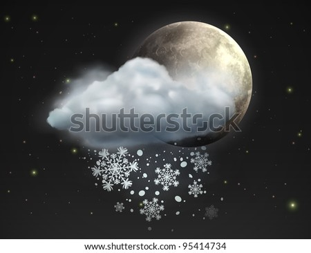 Vector illustration of cool single weather icon - moon with cloud and snow in the night sky - stock vector