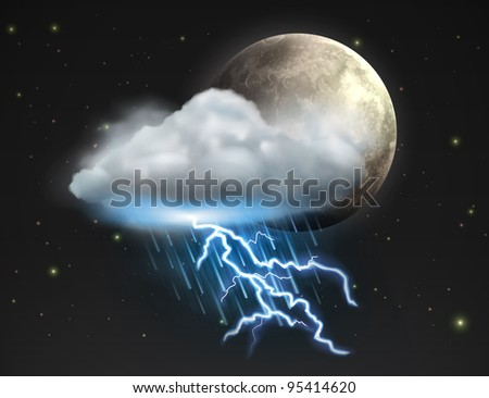 Vector illustration of cool single weather icon - moon with cloud, heavy fall rain and lightning in the night sky - stock vector