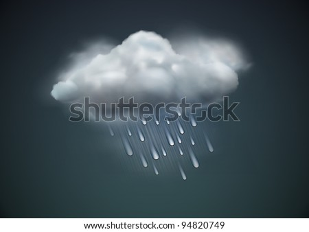 Vector illustration of cool single weather icon -  raincloud with raindrops in the dark sky - stock vector